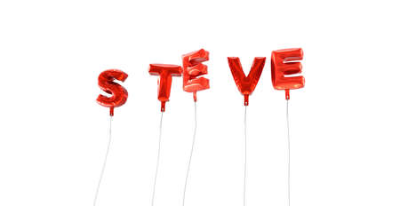 steve: STEVE - word made from red foil balloons - 3D rendered.  Can be used for an online banner ad or a print postcard.