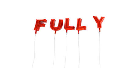 fully: FULLY - word made from red foil balloons - 3D rendered.  Can be used for an online banner ad or a print postcard.