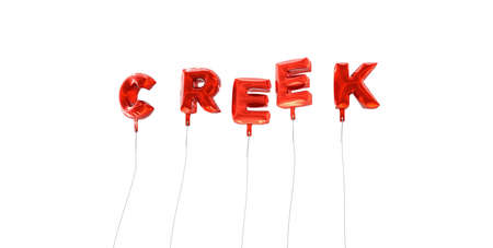 CREEK - word made from red foil balloons - 3D rendered.  Can be used for an online banner ad or a print postcard.