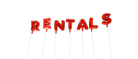 rentals: RENTALS - word made from red foil balloons - 3D rendered.  Can be used for an online banner ad or a print postcard.