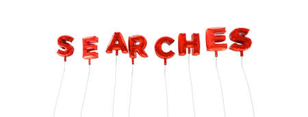 searches: SEARCHES - word made from red foil balloons - 3D rendered.  Can be used for an online banner ad or a print postcard.