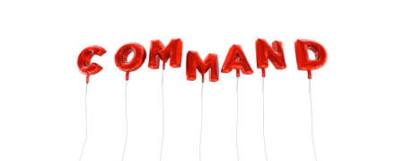 command: COMMAND - word made from red foil balloons - 3D rendered.  Can be used for an online banner ad or a print postcard.