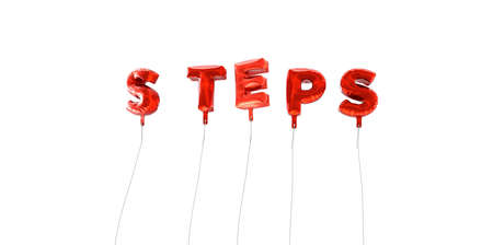STEPS - word made from red foil balloons - 3D rendered.  Can be used for an online banner ad or a print postcard.