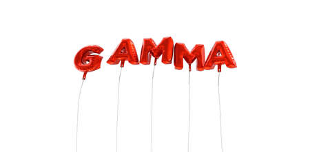 GAMMA - word made from red foil balloons - 3D rendered.  Can be used for an online banner ad or a print postcard.