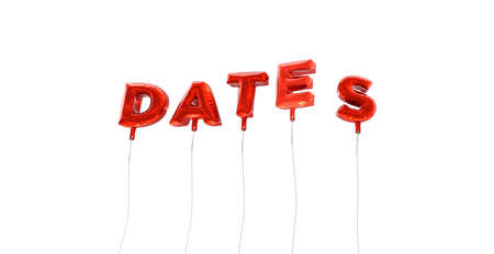 DATES - word made from red foil balloons - 3D rendered.  Can be used for an online banner ad or a print postcard. Stock Photo