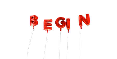 BEGIN - word made from red foil balloons - 3D rendered.  Can be used for an online banner ad or a print postcard.