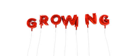 GROWING - word made from red foil balloons - 3D rendered.  Can be used for an online banner ad or a print postcard.