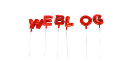 WEBLOG - word made from red foil balloons - 3D rendered.  Can be used for an online banner ad or a print postcard.