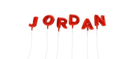 JORDANIÃ‹ - word gemaakt van rode folie ballonnen - 3D weergegeven. Kan worden gebruikt voor een online banneradvertentie of een prentbriefkaart.