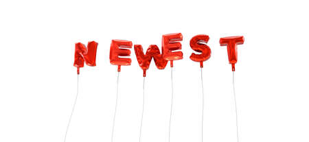 newest: NEWEST - word made from red foil balloons - 3D rendered.  Can be used for an online banner ad or a print postcard.