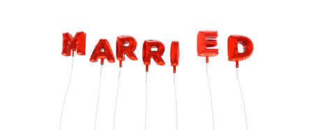 MARRIED - word made from red foil balloons - 3D rendered.  Can be used for an online banner ad or a print postcard.
