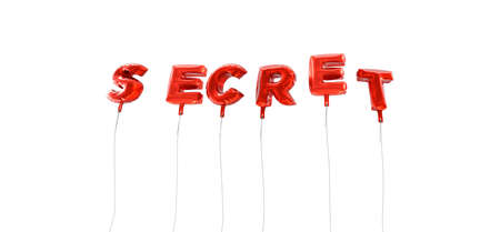 secret word: SECRET - word made from red foil balloons - 3D rendered.  Can be used for an online banner ad or a print postcard.