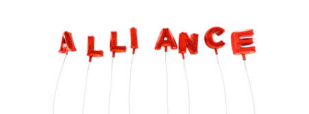 ALLIANCE - word made from red foil balloons - 3D rendered.  Can be used for an online banner ad or a print postcard.