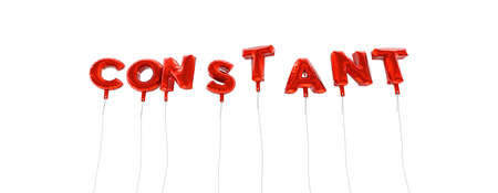 constant: CONSTANT - word made from red foil balloons - 3D rendered.  Can be used for an online banner ad or a print postcard.