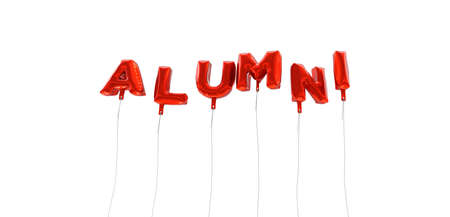 alumni: ALUMNI - word made from red foil balloons - 3D rendered.  Can be used for an online banner ad or a print postcard.