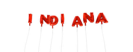 INDIANA - word made from red foil balloons - 3D rendered.  Can be used for an online banner ad or a print postcard.