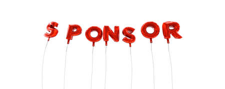 sponsor: SPONSOR - word made from red foil balloons - 3D rendered.  Can be used for an online banner ad or a print postcard.