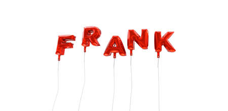 FRANK - word made from red foil balloons - 3D rendered.  Can be used for an online banner ad or a print postcard. Stock Photo