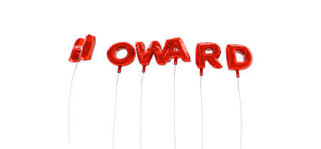howard: HOWARD - word made from red foil balloons - 3D rendered.  Can be used for an online banner ad or a print postcard.