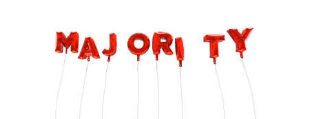 majority: MAJORITY - word made from red foil balloons - 3D rendered.  Can be used for an online banner ad or a print postcard.