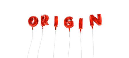 ORIGIN - word made from red foil balloons - 3D rendered.  Can be used for an online banner ad or a print postcard. Stock Photo