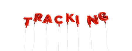 tracking: TRACKING - word made from red foil balloons - 3D rendered.  Can be used for an online banner ad or a print postcard. Stock Photo
