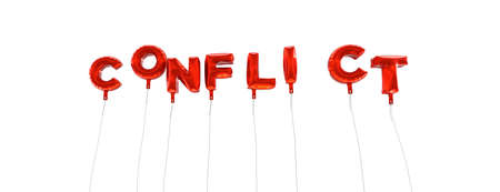 single word: CONFLICT - word made from red foil balloons - 3D rendered.  Can be used for an online banner ad or a print postcard.
