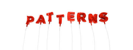PATTERNS - word made from red foil balloons - 3D rendered.  Can be used for an online banner ad or a print postcard.