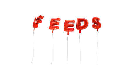 feeds: FEEDS - word made from red foil balloons - 3D rendered.  Can be used for an online banner ad or a print postcard.