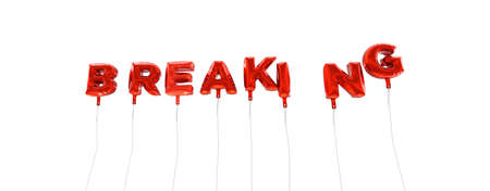 BREAKING - word made from red foil balloons - 3D rendered.  Can be used for an online banner ad or a print postcard.