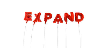 expand: EXPAND - word made from red foil balloons - 3D rendered.  Can be used for an online banner ad or a print postcard.