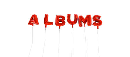 ALBUMS - word made from red foil balloons - 3D rendered.  Can be used for an online banner ad or a print postcard.