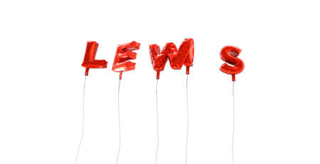 lewis: LEWIS - word made from red foil balloons - 3D rendered.  Can be used for an online banner ad or a print postcard. Stock Photo