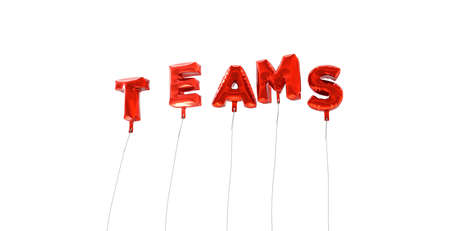 TEAMS - word made from red foil balloons - 3D rendered.  Can be used for an online banner ad or a print postcard. Stock Photo