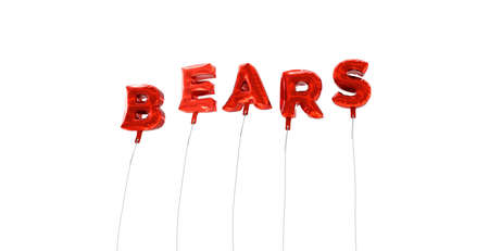 BEARS - word made from red foil balloons - 3D rendered.  Can be used for an online banner ad or a print postcard. Stock Photo