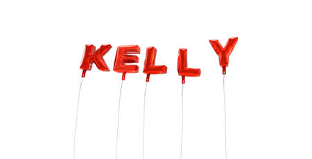 kelly: KELLY - word made from red foil balloons - 3D rendered.  Can be used for an online banner ad or a print postcard.