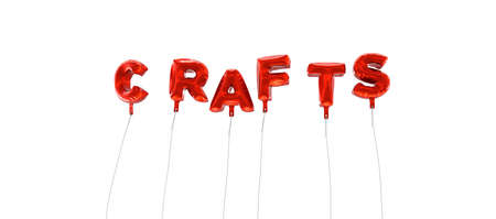 single word: CRAFTS - word made from red foil balloons - 3D rendered.  Can be used for an online banner ad or a print postcard.