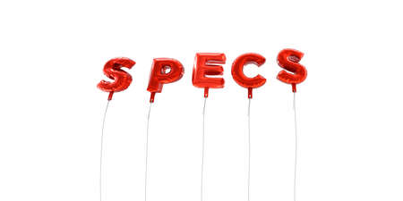 specs: SPECS - word made from red foil balloons - 3D rendered.  Can be used for an online banner ad or a print postcard. Stock Photo