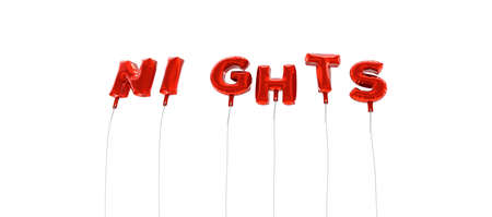 nights: NIGHTS - word made from red foil balloons - 3D rendered.  Can be used for an online banner ad or a print postcard.