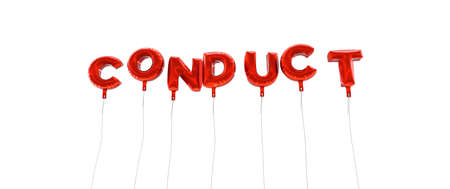 conduct: CONDUCT - word made from red foil balloons - 3D rendered.  Can be used for an online banner ad or a print postcard.