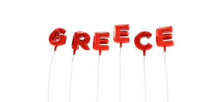 GREECE - word made from red foil balloons - 3D rendered.  Can be used for an online banner ad or a print postcard. Stock Photo