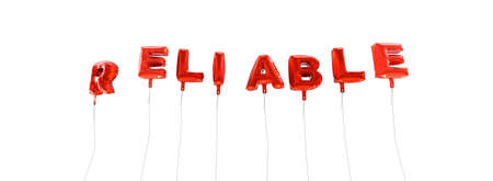 reliable: RELIABLE - word made from red foil balloons - 3D rendered.  Can be used for an online banner ad or a print postcard.