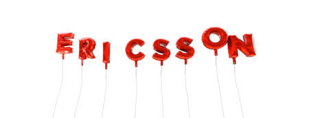 ericsson: ERICSSON - word made from red foil balloons - 3D rendered.  Can be used for an online banner ad or a print postcard. Editorial
