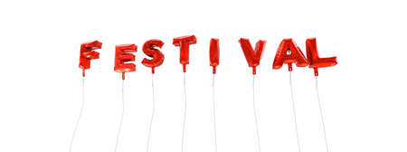 single word: FESTIVAL - word made from red foil balloons - 3D rendered.  Can be used for an online banner ad or a print postcard.