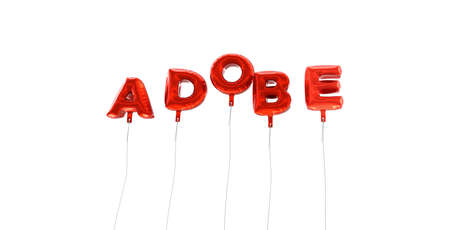 ADOBE - word made from red foil balloons - 3D rendered.  Can be used for an online banner ad or a print postcard. Editorial