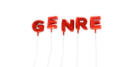 genre: GENRE - word made from red foil balloons - 3D rendered.  Can be used for an online banner ad or a print postcard. Stock Photo