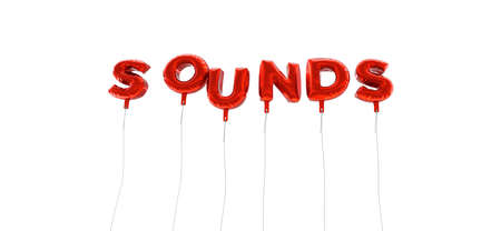 SOUNDS - word made from red foil balloons - 3D rendered.  Can be used for an online banner ad or a print postcard. Stock Photo