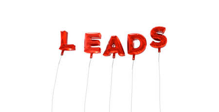 LEADS - word made from red foil balloons - 3D rendered.  Can be used for an online banner ad or a print postcard. Stock Photo