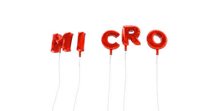 micro print: MICRO - word made from red foil balloons - 3D rendered.  Can be used for an online banner ad or a print postcard. Stock Photo