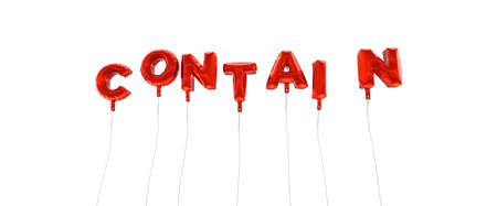 CONTAIN - word made from red foil balloons - 3D rendered.  Can be used for an online banner ad or a print postcard.